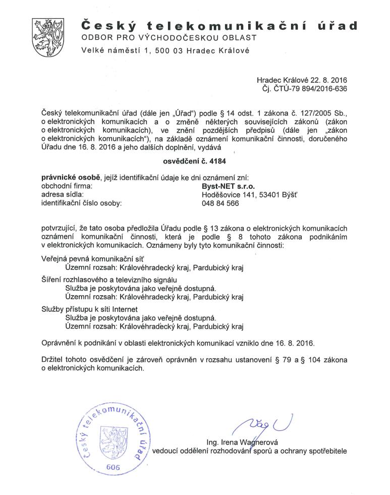 Osvědčení ČTU č. 4184
